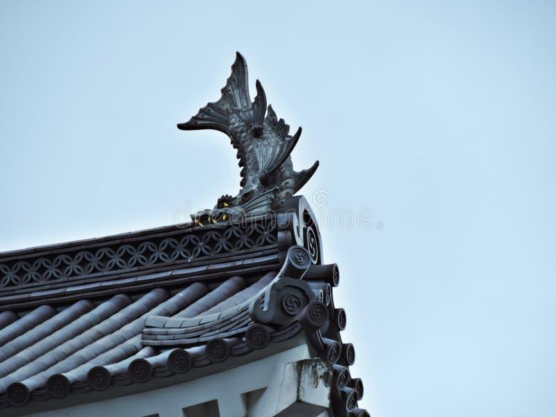 Detalhes do telhado de castelo de Aizuwakamatsu em Japão imagem de stock royalty free