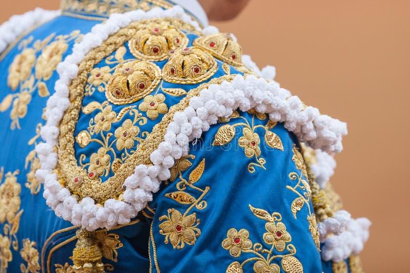 Detalhes do traje do toureiro fotografia de stock