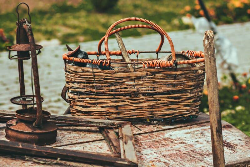 Detalhes e coisas velhos do vintage A foto estilizado Agricultura retro foto de stock royalty free
