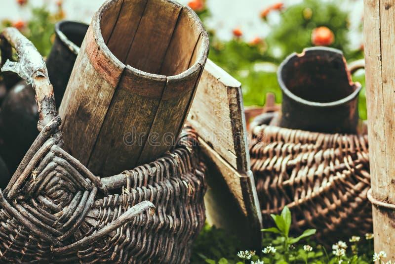 Detalhes e coisas velhos do vintage A foto estilizado Agricultura retro fotos de stock royalty free