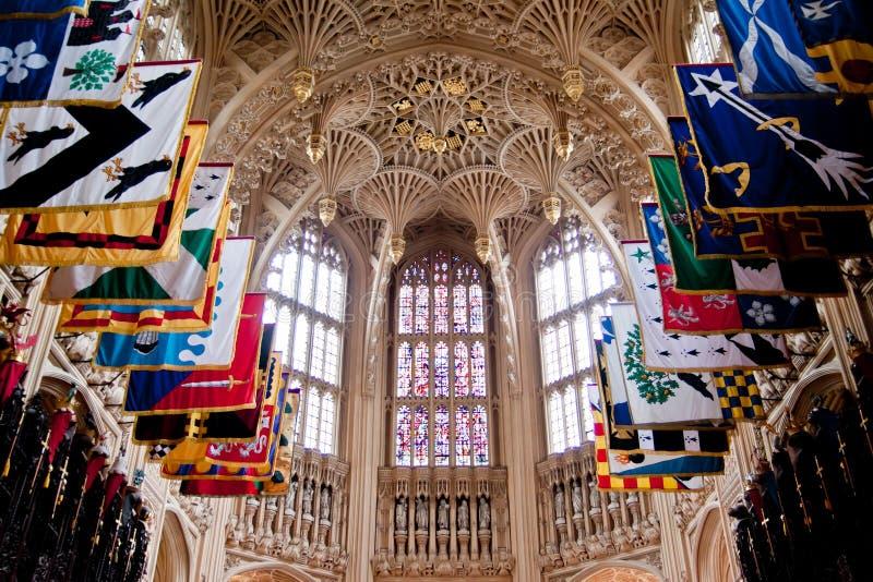 Detalhes góticos interiores da abadia de Westminster fotografia de stock
