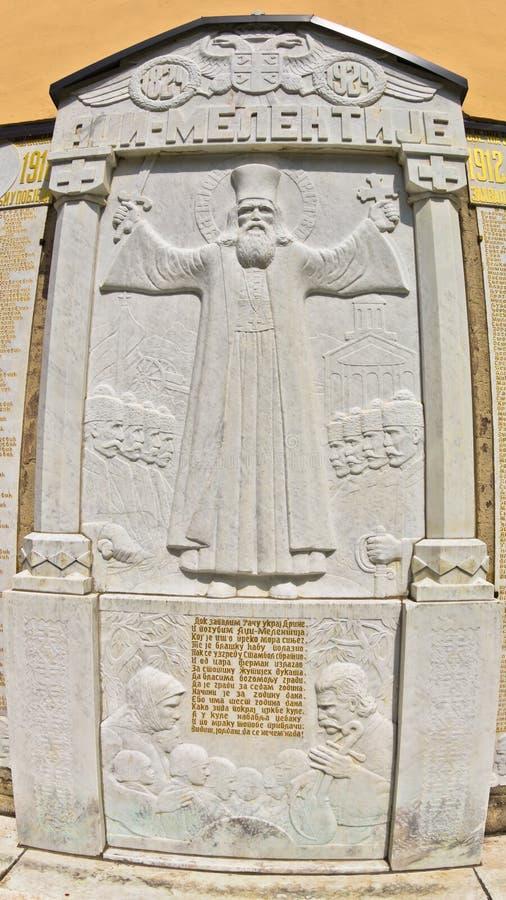 Detalhes históricos no  que de RaÄ um monastério mura sobre a insurreição contra o império otomano imagem de stock