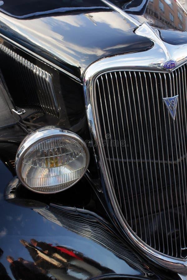Detalhes pretos do carro do vintage fotografia de stock