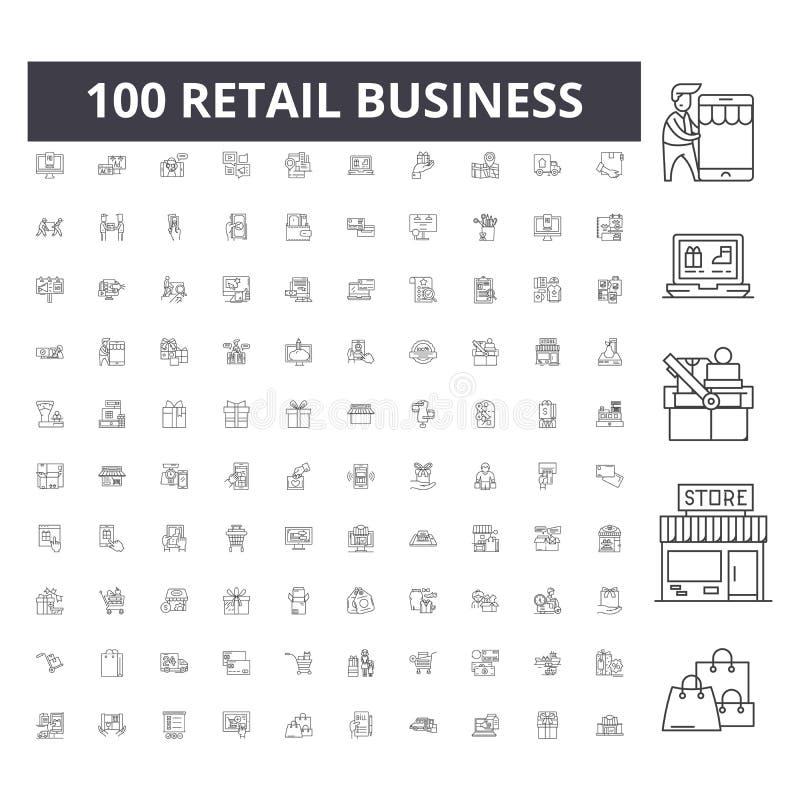 Detaliczne biznesowej linii ikony, znaki, wektoru set, kontur ilustracji pojęcie ilustracja wektor