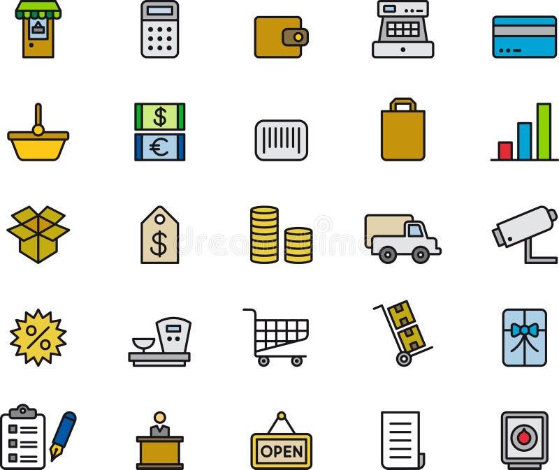 Detaliczne zakupy ikony Inkasowe ilustracja wektor