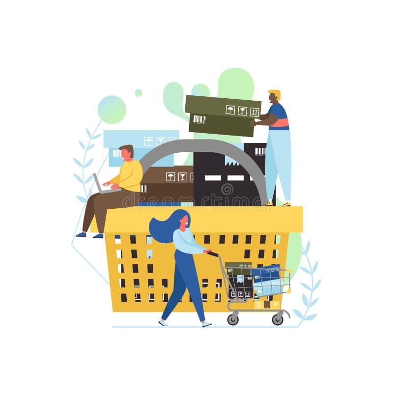 Detalicznego pojęcia mieszkania stylu projekta wektorowa ilustracja ilustracja wektor