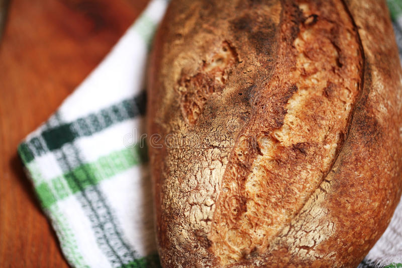 Detalj av bakat bröd för sourdoughspelfmjöl med den trevliga skorpan royaltyfri foto