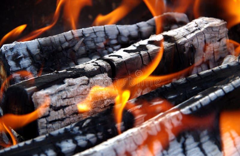 Detalj av brinnande trä arkivbilder