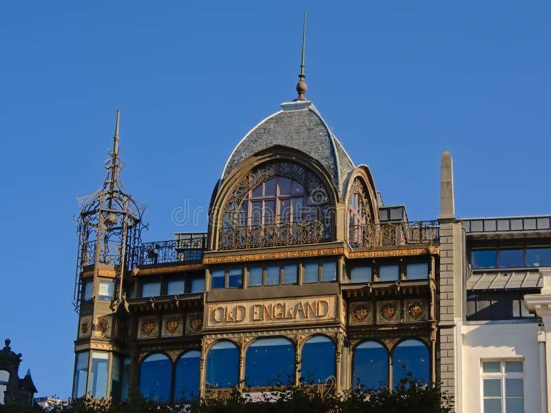 Detalj av byggnad för musikinstrumentmuseumjugendstil i Bryssel, Belgien arkivfoton
