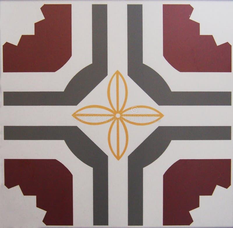 Detalj av de traditionella tegelplattorna från fasad av det gamla huset dekorativa tegelplattor Valencian traditionella tegelplat royaltyfri illustrationer