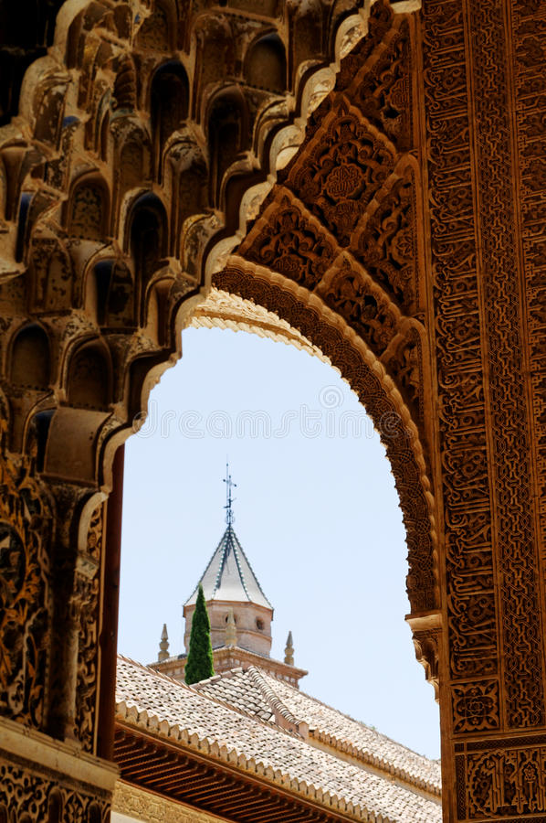 Detalj av den Alhambra slotten royaltyfria foton