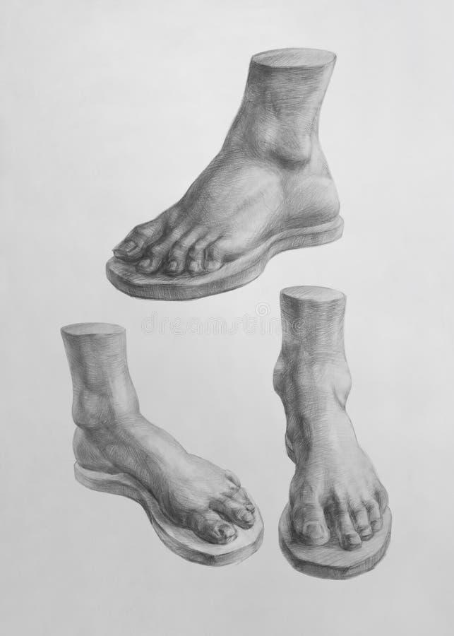 Detalj av den David foten stock illustrationer
