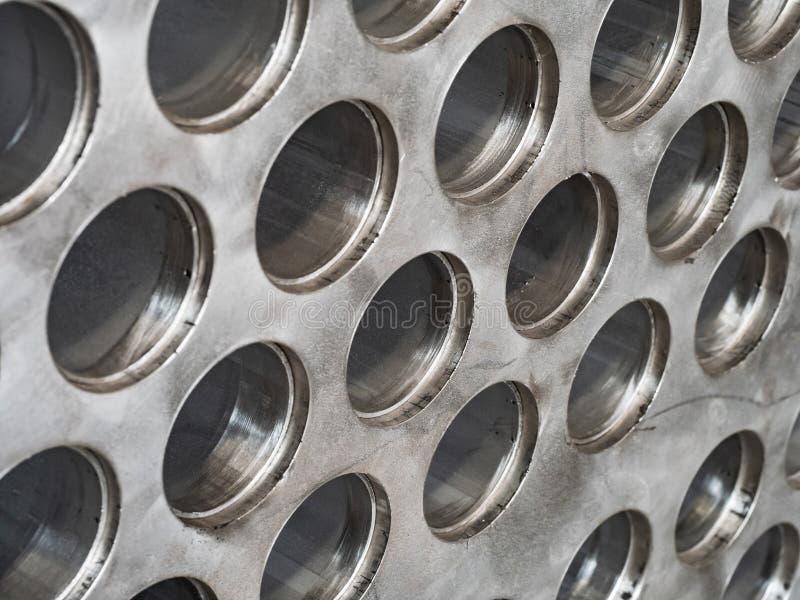 Detalj av den industriella värmeexchangeren royaltyfri foto