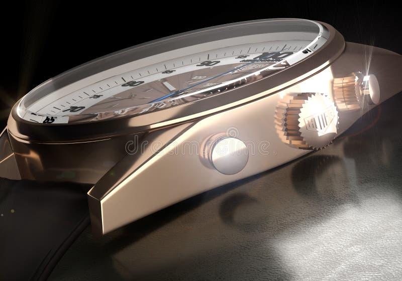 Detalj av den lyxiga klockaETIKETTSHeuer micrographen arkivbild