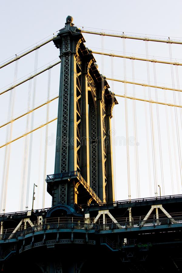 detalj av den Manhattan bron, New York City, USA arkivbilder