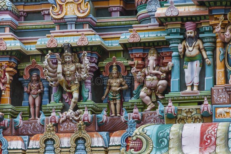 Detalj av den Meenakshi templet i Madurai, Indien royaltyfria bilder
