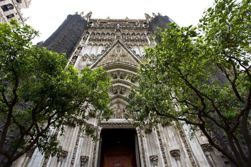 Detalj av den Seville domkyrkan, St Mary av se, i Seville, royaltyfri fotografi