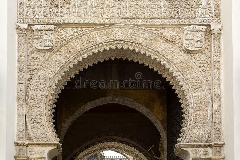 Detalj av den Seville domkyrkan, St Mary av se, i Seville, arkivfoton