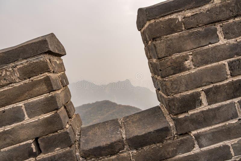 Detalj av den stora väggen av Kina på Mutianyu royaltyfri bild
