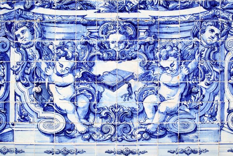 Detalj av den traditionella portugisiska tileworkazulejoen arkivbilder
