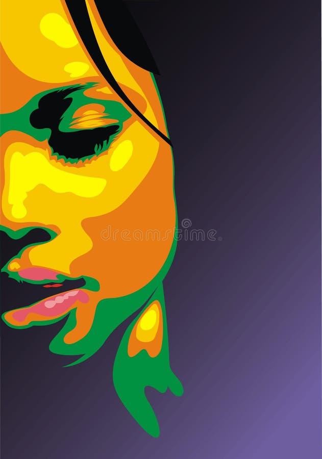 Detalj av den trevliga kvinnaframsidan vektor illustrationer