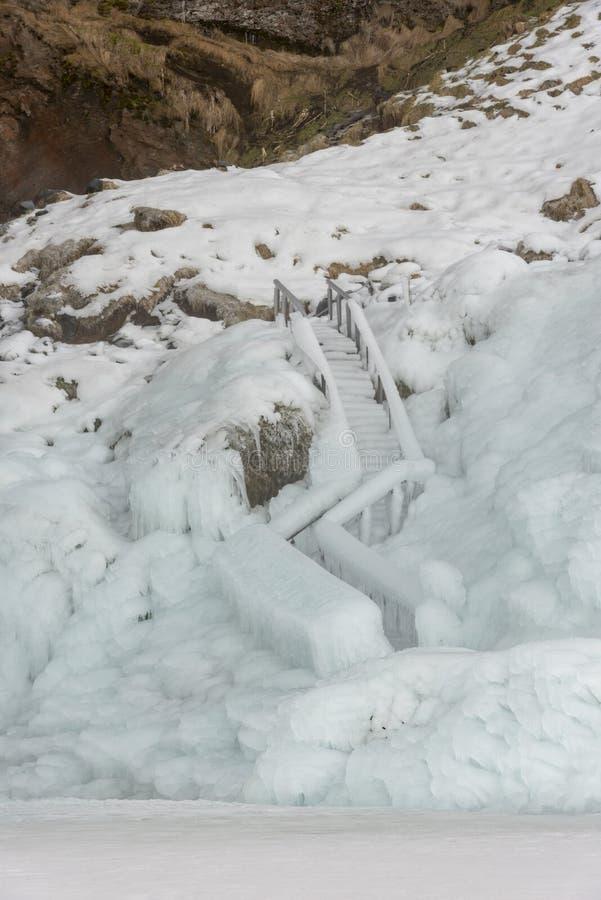 Detalj av djupfryst trappa på den Seljalandsfoss vattenfallet fotografering för bildbyråer