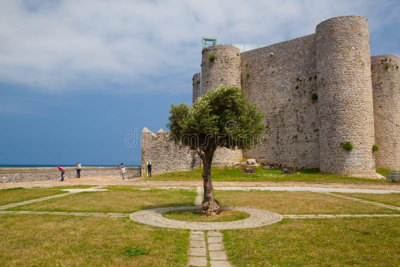 Detalj av domkyrkan och slott och fyr, Castro Urdiales, arkivfoton