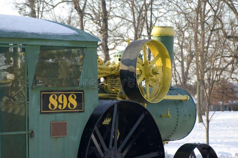 Detalj av en ånga driven traktor royaltyfri foto