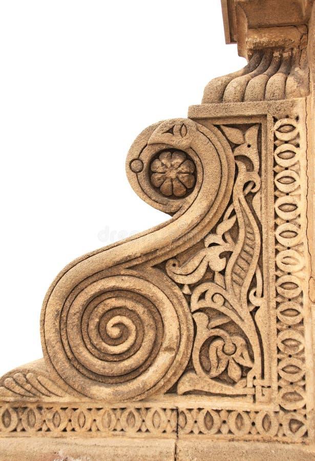 Detalj av en forntida sniden prydnad i marockansk stil, Marocko arkivfoton