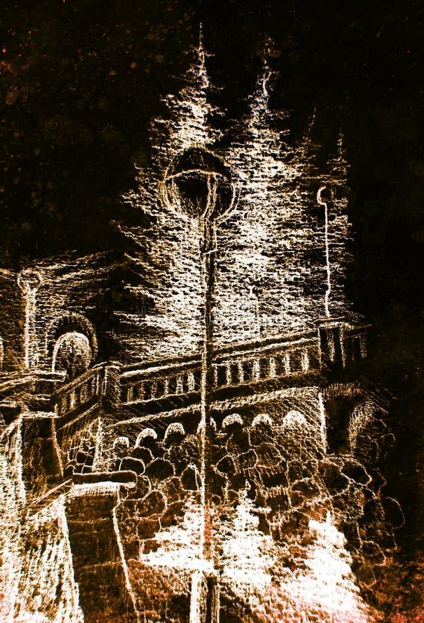 Detalj av en gatalampa i den gamla staden, blyertspennateckning, färgeffekt på abstrakt bakgrund stock illustrationer