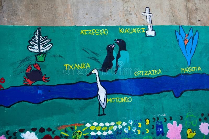 Detalj av en grafitti- och flottanaturalistväggmålning arkivfoto