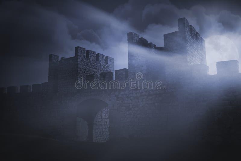 Detalj av en medeltida Iberian slott arkivfoto