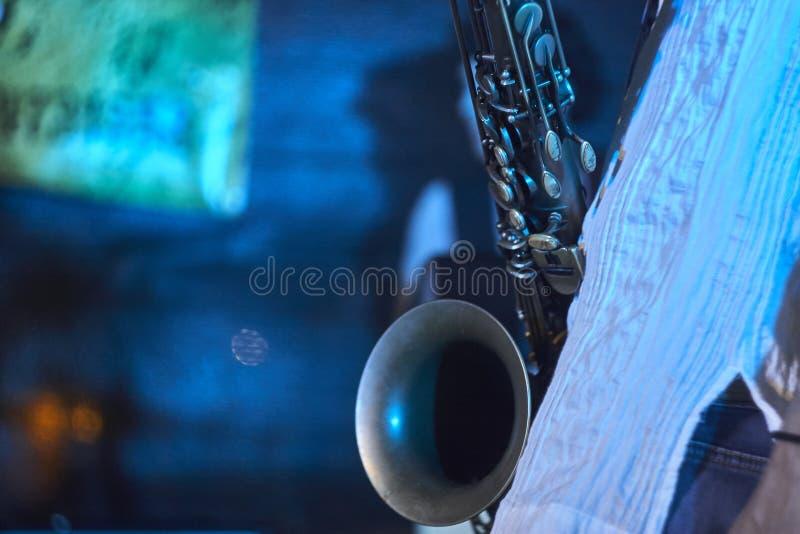 Detalj av en saxofon fotografering för bildbyråer