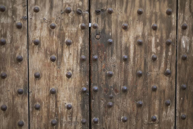 Detalj av en wood port royaltyfria foton