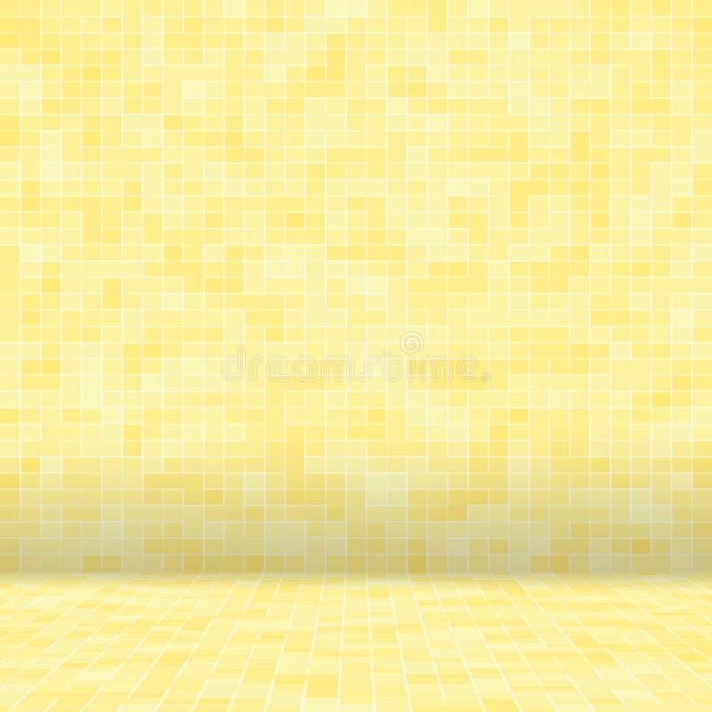 Detalj av gul guld- smyckad byggnad för Mosiac textur abstrakt keramisk mosaik seamless abstrakt modell Abstrakt begrepp stock illustrationer