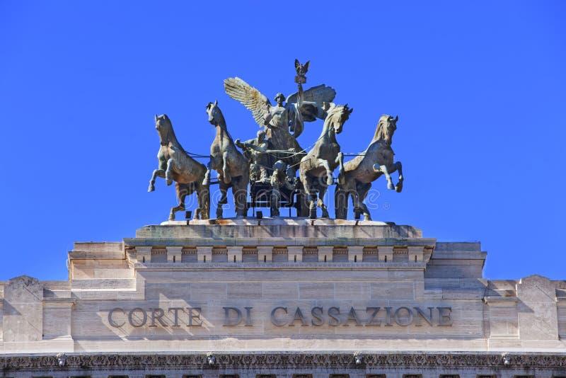 Detalj av högsta domstolen av upphävande i Rome i Italien royaltyfri bild