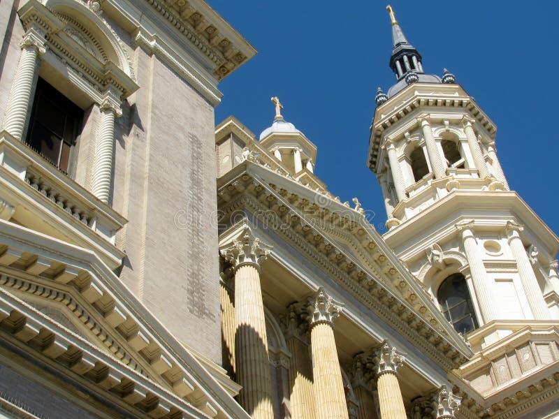 Detalj av helgonet/St Ignatius Roman Catholic Church, en jesuitförsamling, San Francisco, Kalifornien, USA royaltyfri fotografi