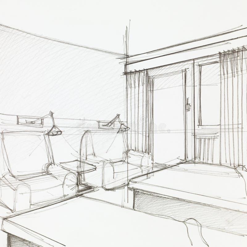 Detalj av hotellrum royaltyfri illustrationer