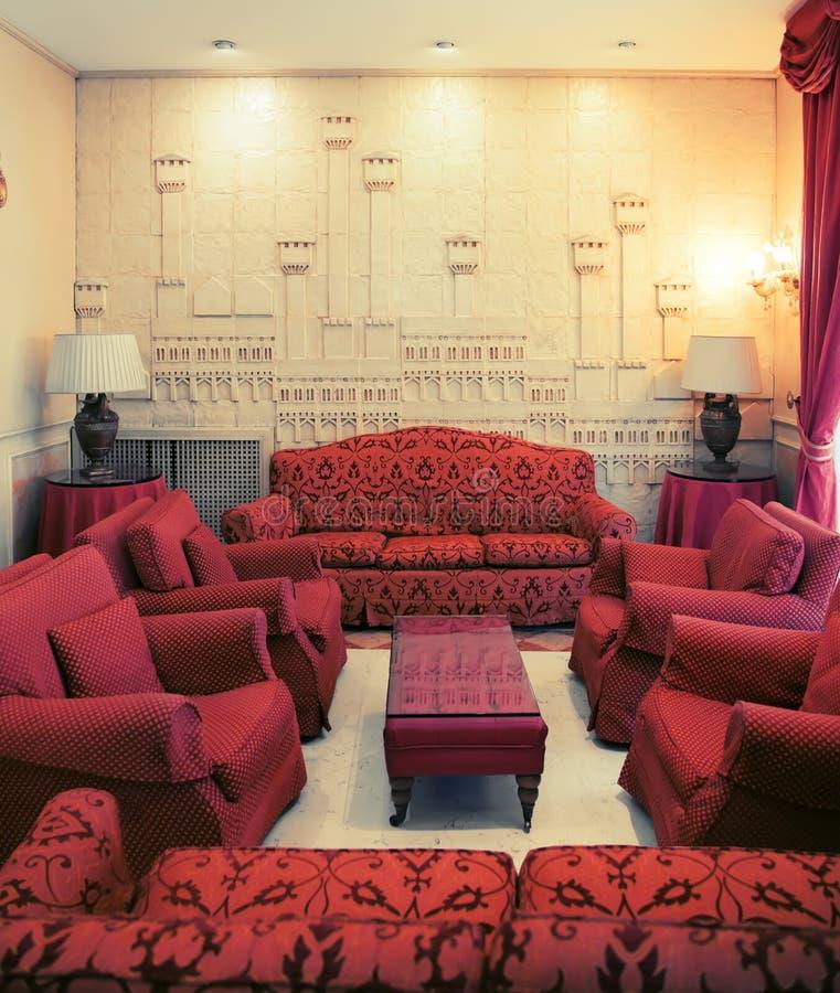 Detalj av inre i klassiskt hotell arkivfoton