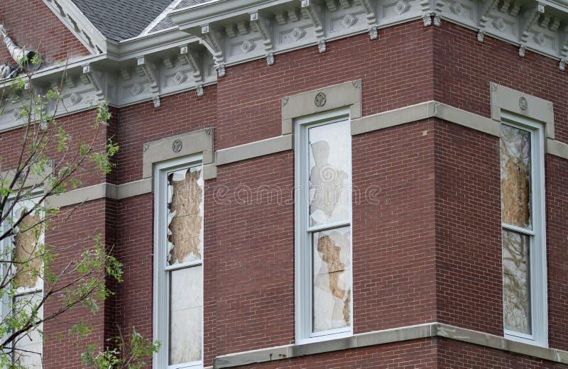 Detalj av korridorskada på domstolsbyggnad royaltyfri foto