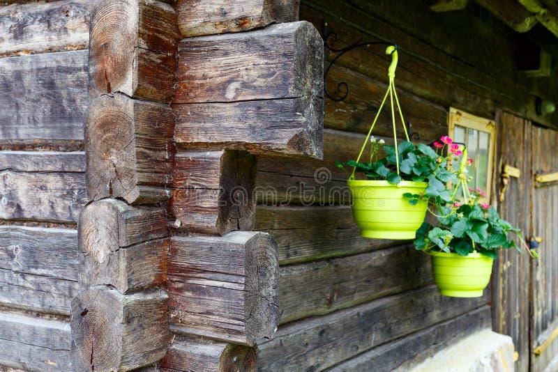 Detalj av loghouseyttersida royaltyfri foto