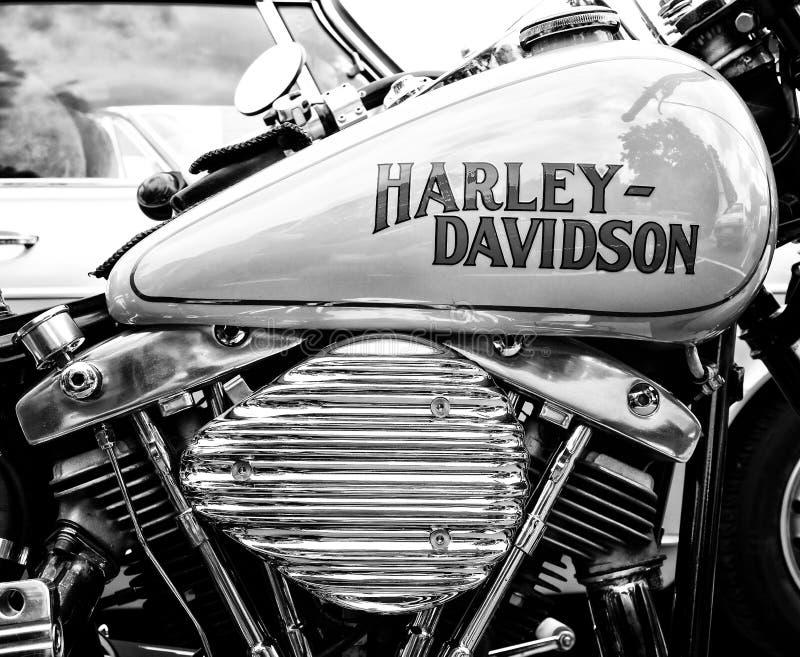 Detalj av motorcykeln (svartvita) Harley-Davidson, arkivbild