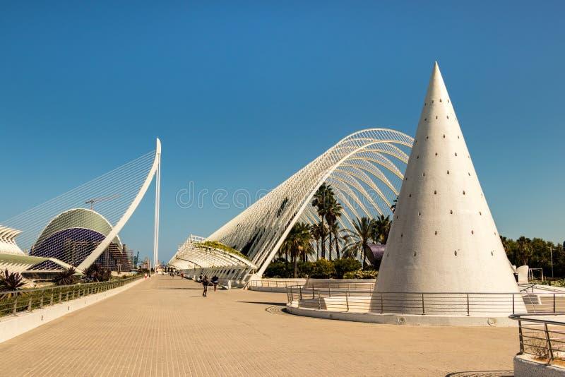 Detalj av museet av vetenskap i Valencia i en sommardag, Valencia, Spanien arkivfoto