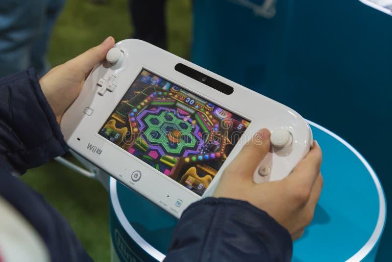 Detalj av Nintendo Wii på lekveckan 2014 i Milan, Italien fotografering för bildbyråer