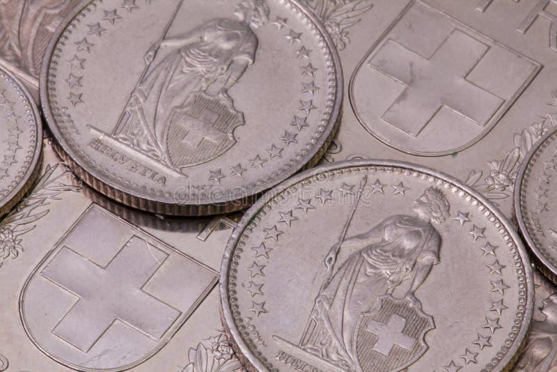 Detalj av olika schweizisk francmynt royaltyfri bild