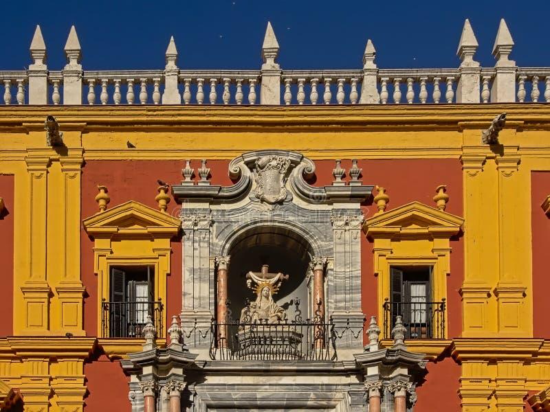 Detalj av slotten av biskopen av Malaga arkivbilder