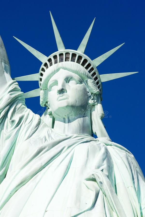 detalj av statyn av Liberty National Monument, New York, USA royaltyfria bilder