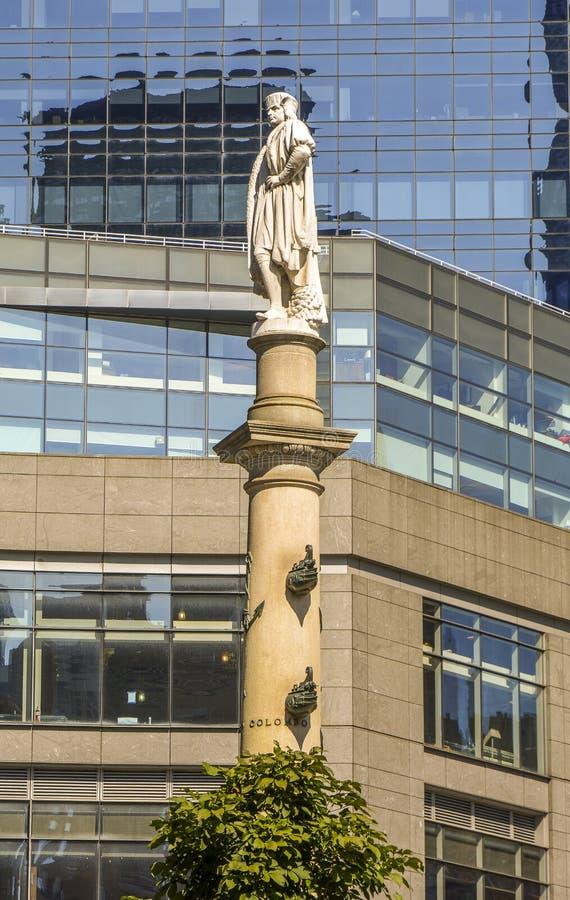 Detalj av statyn på Columbus Circle New York royaltyfri fotografi