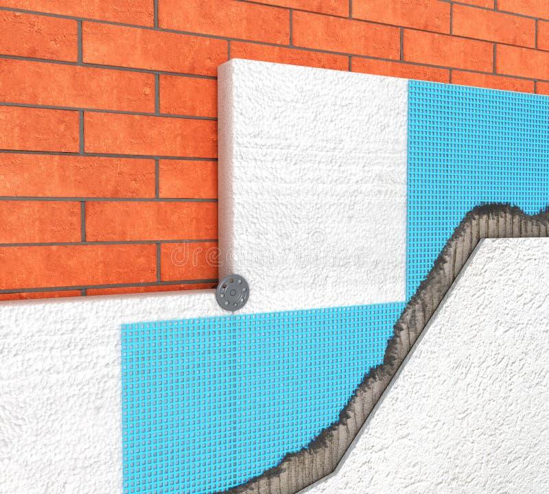 Detalj av termisk isolering av en tegelstenvägg med polyuretanpaneler på en vit 3d arkivbilder