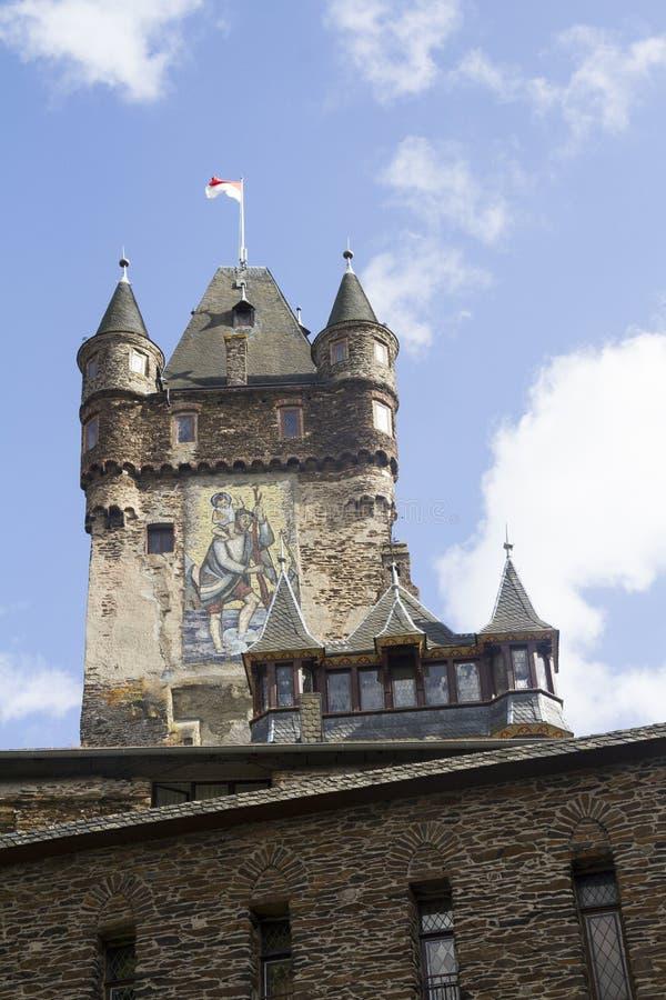 Detalj av tornet av slotten av Cochem, Tyskland Det är largen royaltyfri bild
